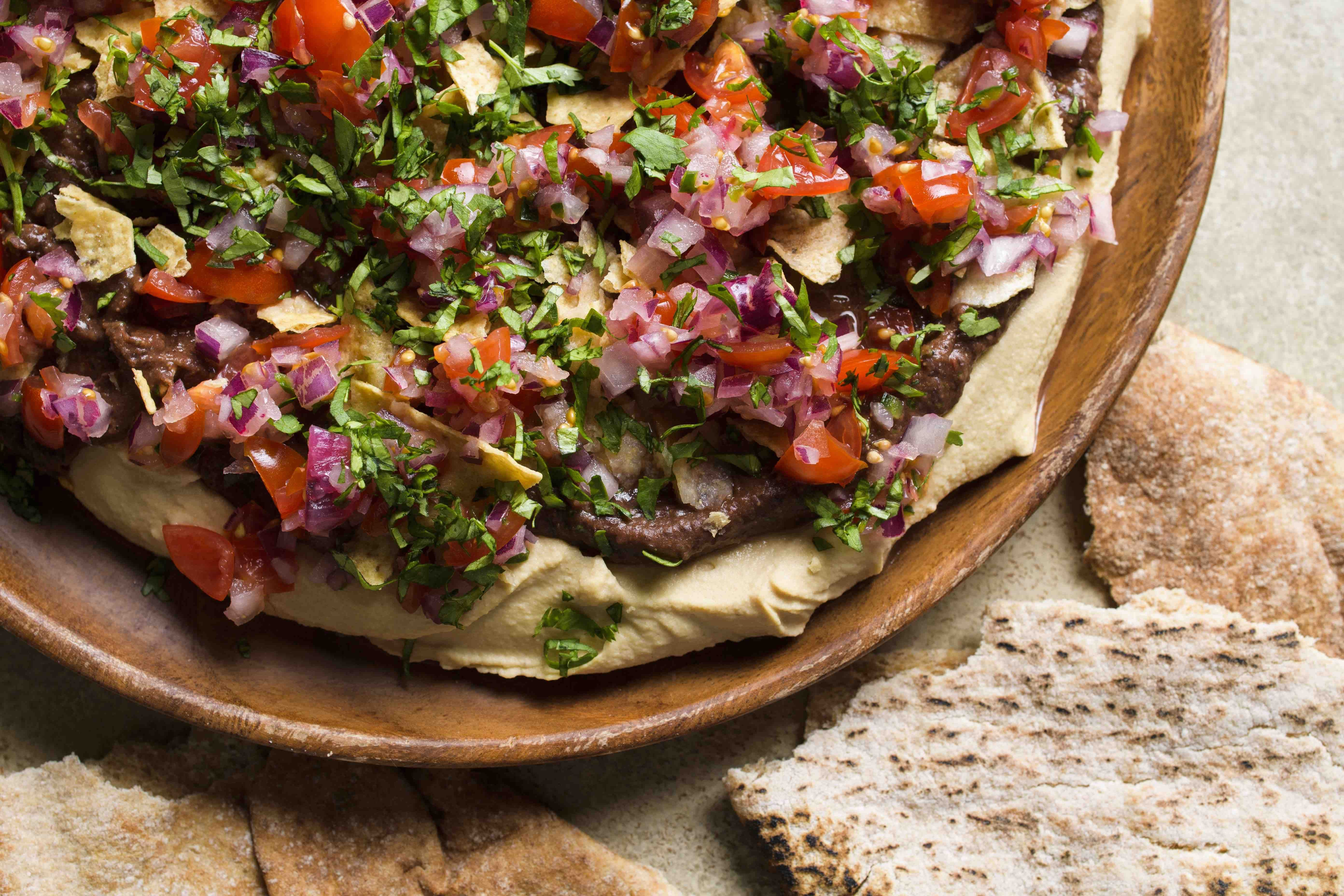 Hummus with Chipotle Black Beans and Tomato Salsa